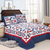 Home Textile with Pillow Cases Customized Prewashed Durable Comfy Bedding Quilted 3-Piece Bedspread Coverlet Set