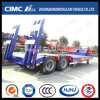 Cimc Huajun 2axle Lowbed/Lowboy Semi Trailer with Hydraulic Ramp