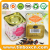 Airtight Square Tea Tin Box for Metal Tea Caddy Packaging