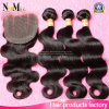 100% 3 Bundles Brazilian Virgin Human Hair Body Wave with Lace Closure