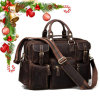 Vintage Style Brown Crazy Horse Genuine Leather Travel Weekend Bag