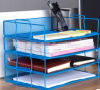 2017 Office Stackable Metal Mesh File Tray Desk Document Holder