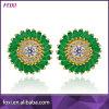 Stylish Micro Pave Semi Joia Emerald Stone Paved Stud Earrings