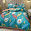 Yellow Quilt Sheet with Lake Green Flower Quilt Cover Household Products Four Piece Set