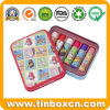 Kids Rectangular Metal Cosmetic Packaging Box Lip Balm Tin Can