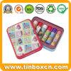 Kids Rectangular Metal Cosmetic Packaging Box Lip Balm Tin Can