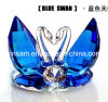 Blue Double Crystal Glass Swans Craft for Wedding Gifts