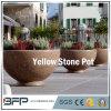 Antique Polished Yellow Stone Flower Pot/Vase for Garden Decoration/Landscape Project