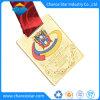 Custom Sports Award Gold Metal Medal with Ribbon Printing