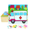 Factory Direct Hot 3D DIY Chindlren Cartoon Wooden Frame Puzzle Educational Toys Ambulance