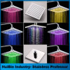 Color Changing 8-Inch Square Chrome Shower Heads RGB Flash for Bathroom