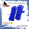 "14"" Blue Cowhide Split Leather Welding Industrial Hand Safety Work Gloves"