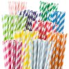 Stripe Patterned Colorful Compostable Drinking Paper Straws