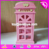 Handmade Pink Telephone Booth Wooden Girls Piggy Bank for Sale W02A267