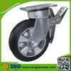 Total Brake Rubber Caster with Rubber Aluminum Core Wheel