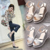 2017 Summer New Women Sandals 10 Cm Platform Sandals Gold Sliver Gladiator Fashion Hook Loop Woman Wedge Shoes