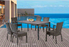 Outdoor Long Table with Rattan Chair Non- Armchair Chair