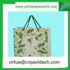 Delicate Green Floral Design Simpleness Kraft Paper Bag with Handle