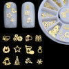 3D Gold Metal Christmas Nail Art Decoration Slice Stickers Decal Foil
