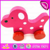 Lovely Toddler Wooden Dog Pull Along Toys for Kids, Wooden Baby Pull Along Real Look Charming Toddler Dog Animal Toy W05b109