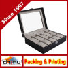 Grids Watch Display Jewelry Case Box Storage Holder Leather, Glass Top Jewelry Case (140068)