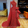 Evening Gowns Robe De Soiree Sequined Red Party Dress One Shoulder Long Formal Gown Sleeves Slit ...
