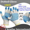 13G White Nylon Knitted Glove with 2-Side Blue Nitrile Dots on Palm & Blue Nitrile Smooth Coating on Fingertip/ En388: 214X