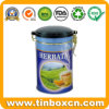Round Tea Tin with Airtight Lid, Tea Caddy, Metal Tin Box, Food Tin Can Packaging