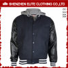 Wool Leather Varsity Letterman Jacket with Hood