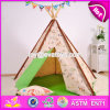 Deluxe Indoor Play Kids Teepee Tent Natural Cotton Canvas Children Kids Teepee Tent W08L005