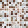 White and Brown Golden Line Melting Glass Mosaic (H420003)