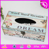 Wholesale Customize Flower Pattern Wooden Square Tissue Box Cover W18A009