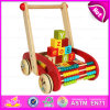 Wooden Block Trolly Baby Walker Push Along, Multi-Functional Colorful Wooden Big Baby Walker with Blocks W16e046