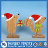 Wooden Squirrel and Hedgehog with Christmas Hat for Top Table Decor