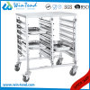 Stainless Steel Kitchen 6 Tiers Dual Rows Transport Trolley for Gn 1/1 Pan
