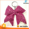 High Quality Rose Red Butterfly Bowknot Rhinestone Keychain