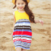 Children's Clothes Stitching Cotton and Linen National Wind Vest Dress