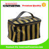 Unisex Stripe Pattern PU Cosmetic Bag with Big Volume for Travel Outside