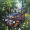 Handmade Yard Art Ford and Truck Oil Painting on Canvas for Home Decor