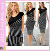 2016 Europe and America Black and White Striped Plus Size Slimming Pencil Dress