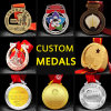 Cheap Custom 3D Zinc Alloy Metal Enamel Olympic Running Sport Finisher Soccer Blank Gold Golden Marathon Award Military Honor Souvenir Badge Medal No Minimum