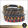 Python Leather Square Bead Bracelet for European Men