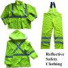 100% Polyester En 471 High Visibility Reflective Raincoat Suit