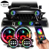 7inch Round Sealed Beam RGB Halo Projector Headlights Car Fog Light Jeep Patriot LED Headlight