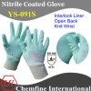 Interlock Glove with Anti-Microbial Green Nitrile Coating & Open Back & Knit Wrist/ En388: 4111 (YS-091S)