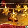 Indoor Xmas Ramadan Decorative String Light with Gold Iron Stars
