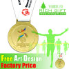 Design Custom Metal Zinc Alloy Gold Award Metal with Ribbon