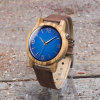 Zebrano Wood Watch with Light Brown Strap