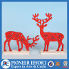 Wooden Red Reindeer for Christmas Home Decorations