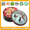 Christmas Round Metal Biscuits Cookies Tin for Gift Packaging Box